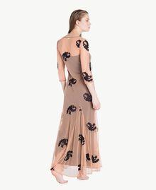 Long embroidered dress Black Woman MS8BJJ-04