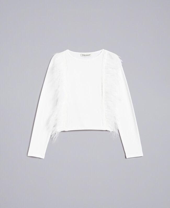T-shirt en coton avec plumes Off White Enfant GA827B-01