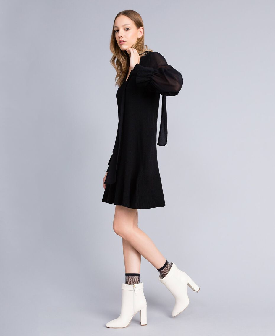 Knitted dress with georgette sleeves Black Woman TA8331-02