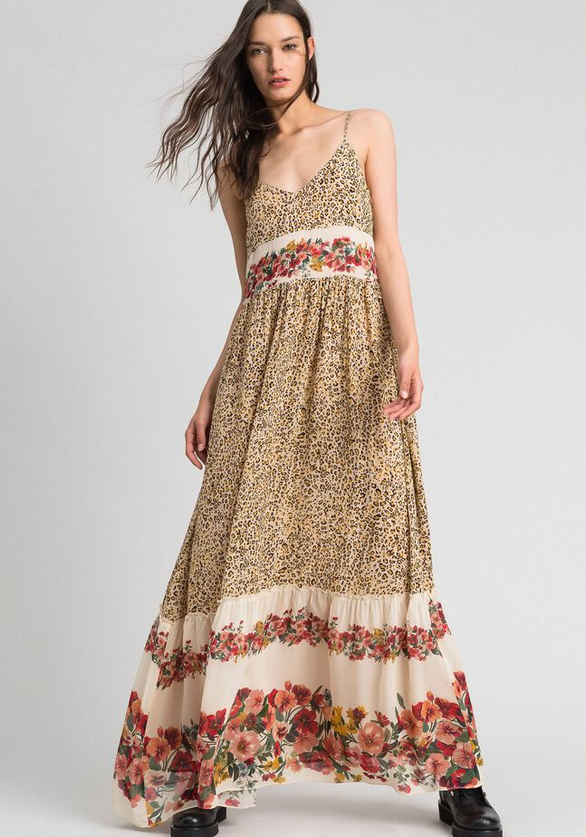 Long dress with animal and floral print
