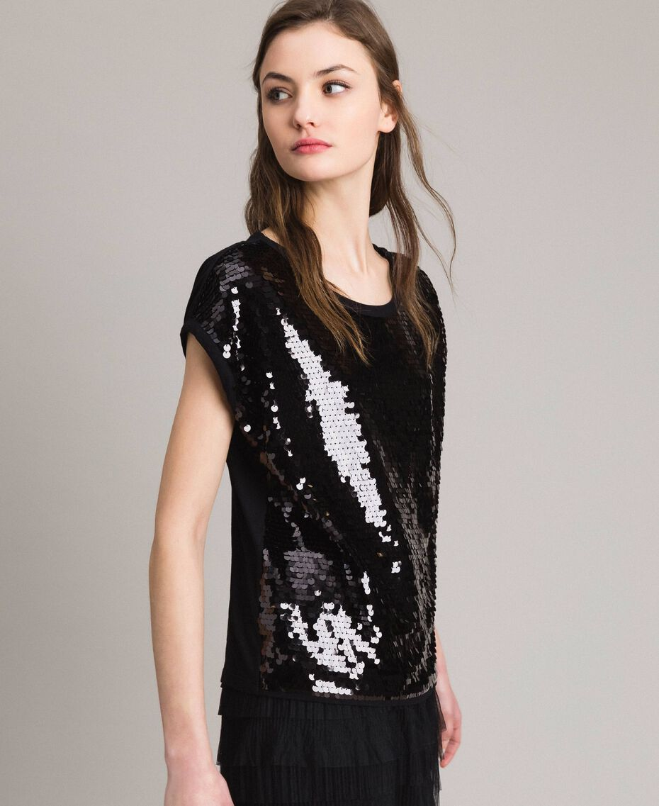 Sequined T-shirt Black Woman 191MP206G-02
