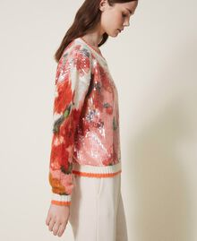 Mohair and wool jumper with sequins Ivory / Coral Dream Large Flower Print Woman 202TT3281-02