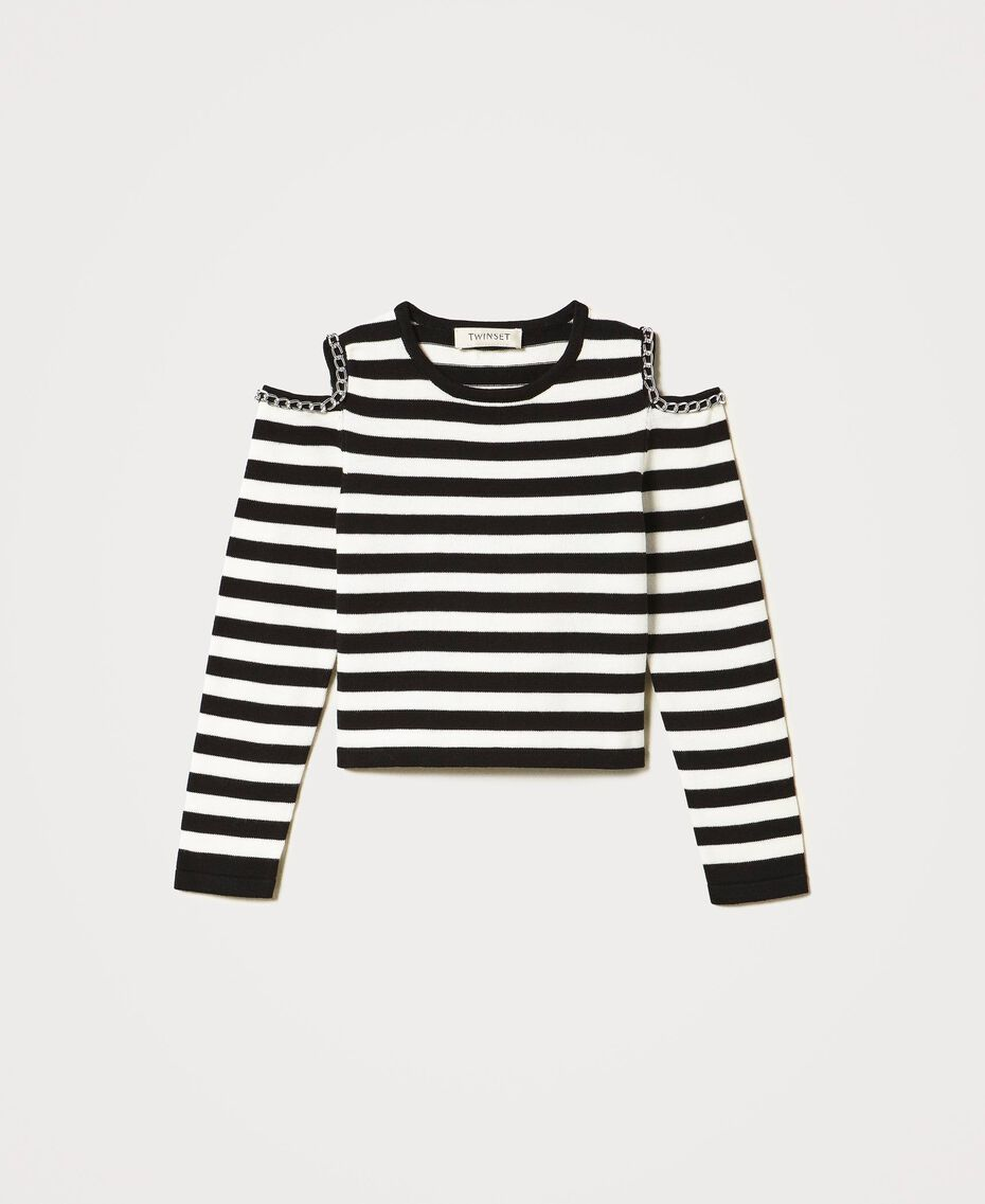 Striped jumper with cut-out and chains Off White / Black Stripes Child 211GJ350A-0S