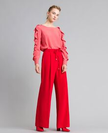 Pantalon large en cady Rouge Coquelicot Femme PA825D-01
