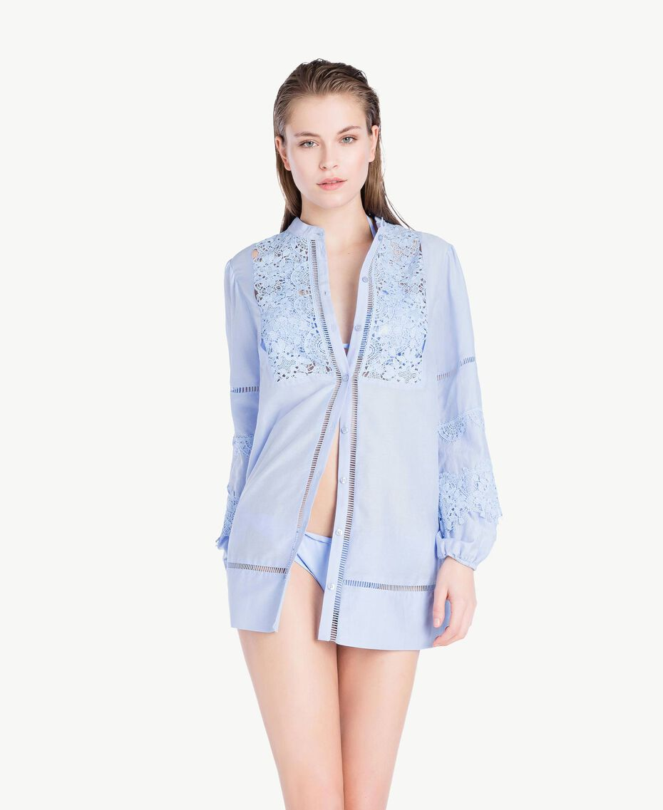 """Lace shirt """"Blue Foam"""" Blue Woman BS8FAA-02"""