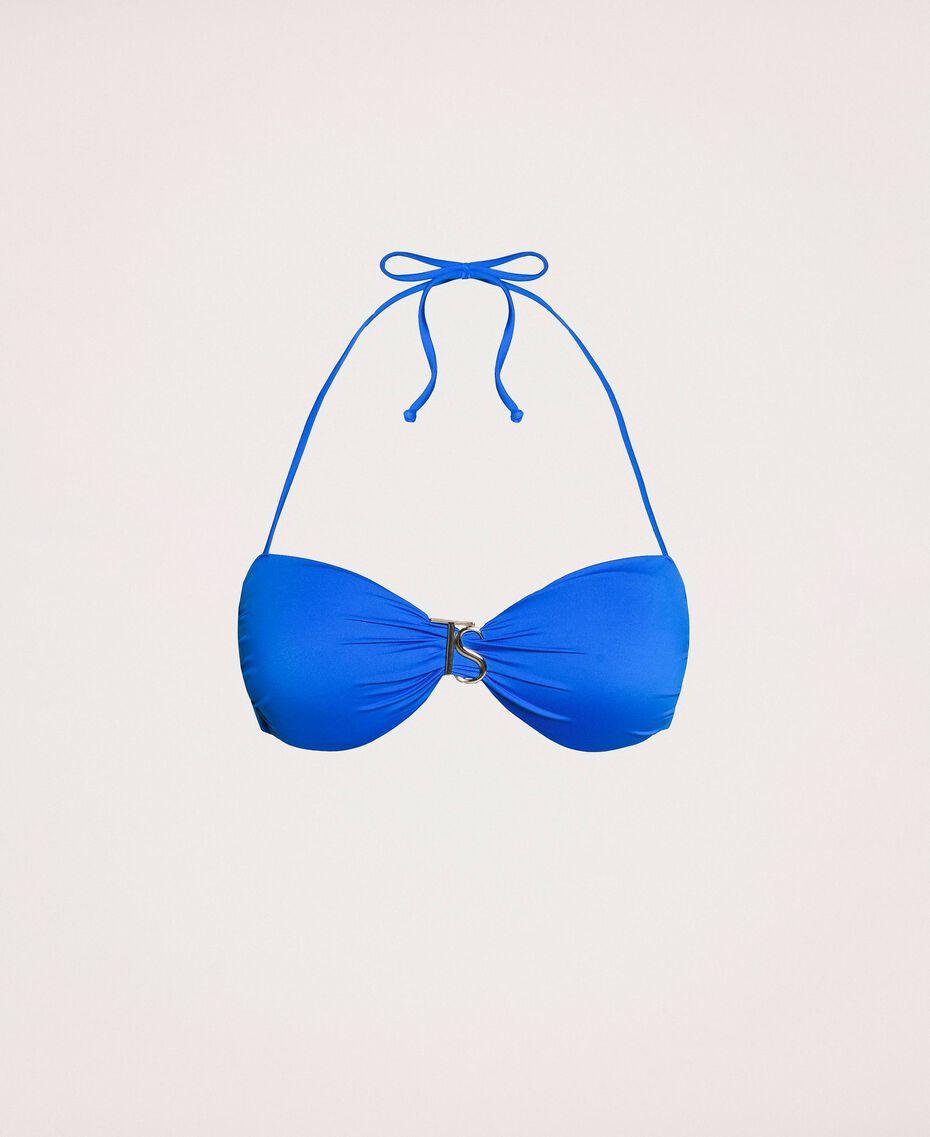 Logo bandeau bikini top Fluo Blue Woman 201LBMH11-0S