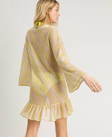 """Striped lurex caftan """"Bronze"""" Brown / """"Lemon Juice"""" Yellow Multicolour Striping Woman 191LB2AJJ-03"""
