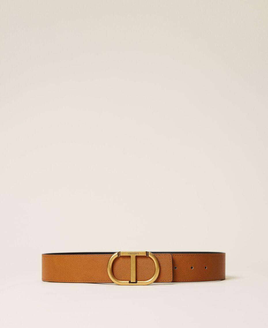 Cinturón reversible de piel con logotipo Bicolor Marrón «Cuero» / Negro Mujer 212TA4116-01