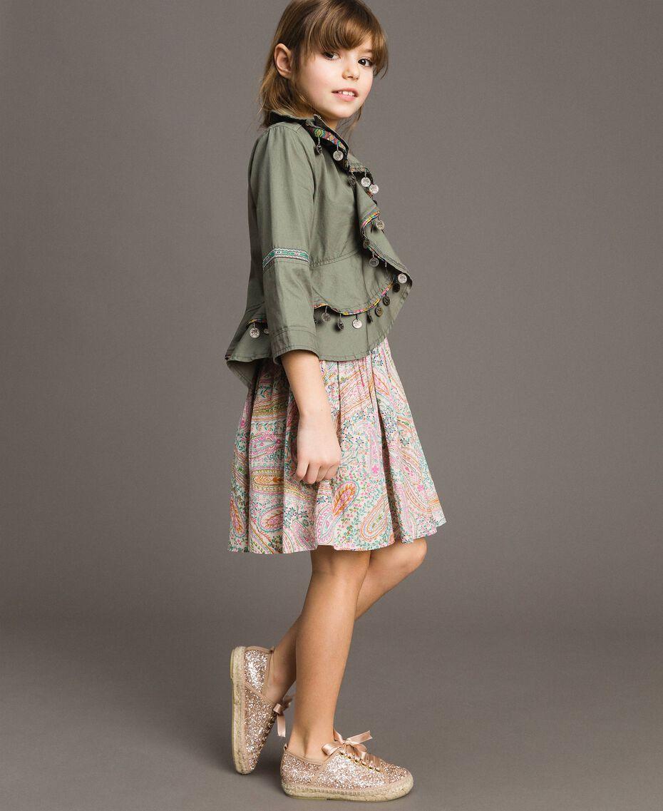 Blouson en coton avec mini médailles Vert Toundra Enfant 191GJ2070-02