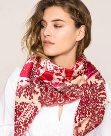 "Paisley print kefiah ""Lava"" Red Cashmere Print/ ""Blossom"" Pink Woman 201TA436C-0S"