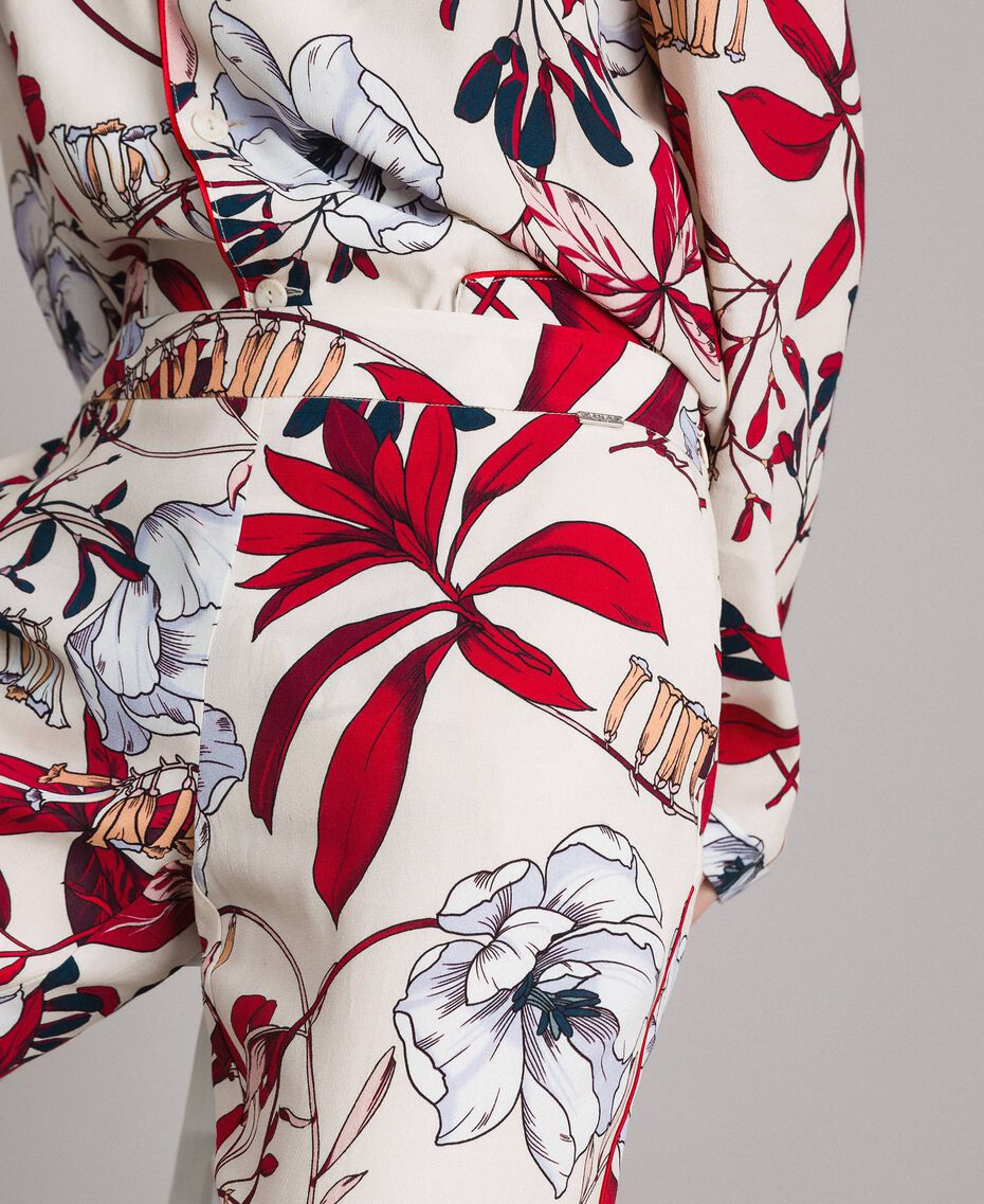 Pantalon en crêpe à imprimé floral Imprimé Exotique Écru Femme 191ST2231-02