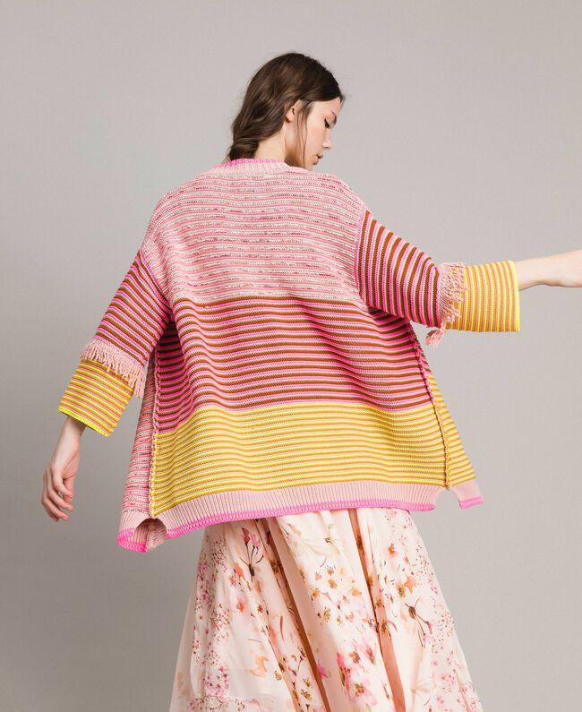 Maxicardigan im Patchwork-Look mit Fransen Streifen Patchwork Pink / Gelb Frau 191TP3310-03