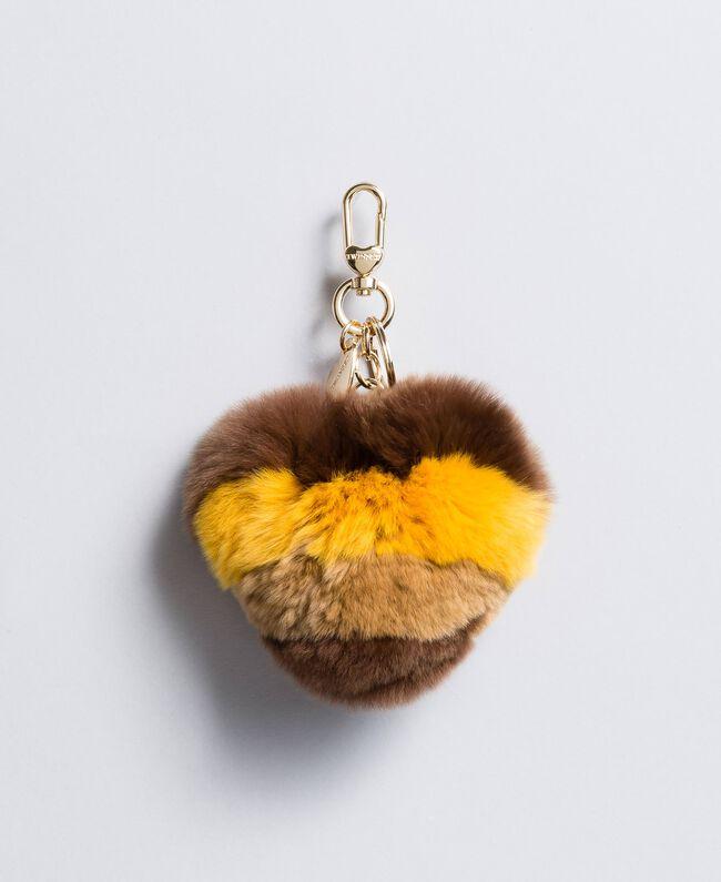 Porte-clés cœur en fourrure multicolore Multicolore Ocre Foncé / Beige Cookie Femme OA8TE4-01