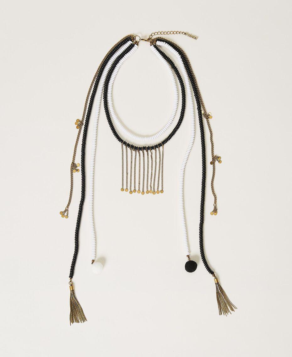 Collier avec perles et franges Multicolore Jaune «Led» / Rose «Néon» Femme 211TO501F-01