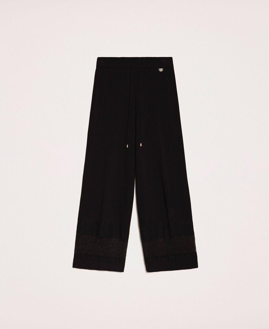 Pantaloni in maglia con pizzo Nero Donna 201LL3GBB-0S