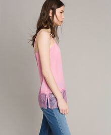 Crêpe de Chine top with lace flounces Hydrangea Pink Woman 191MP2452-02