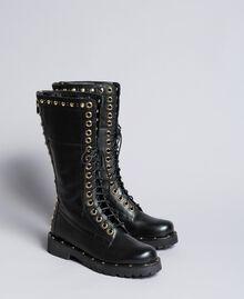 Boots en cuir avec rivets et clous Noir Femme CA8PLY-02