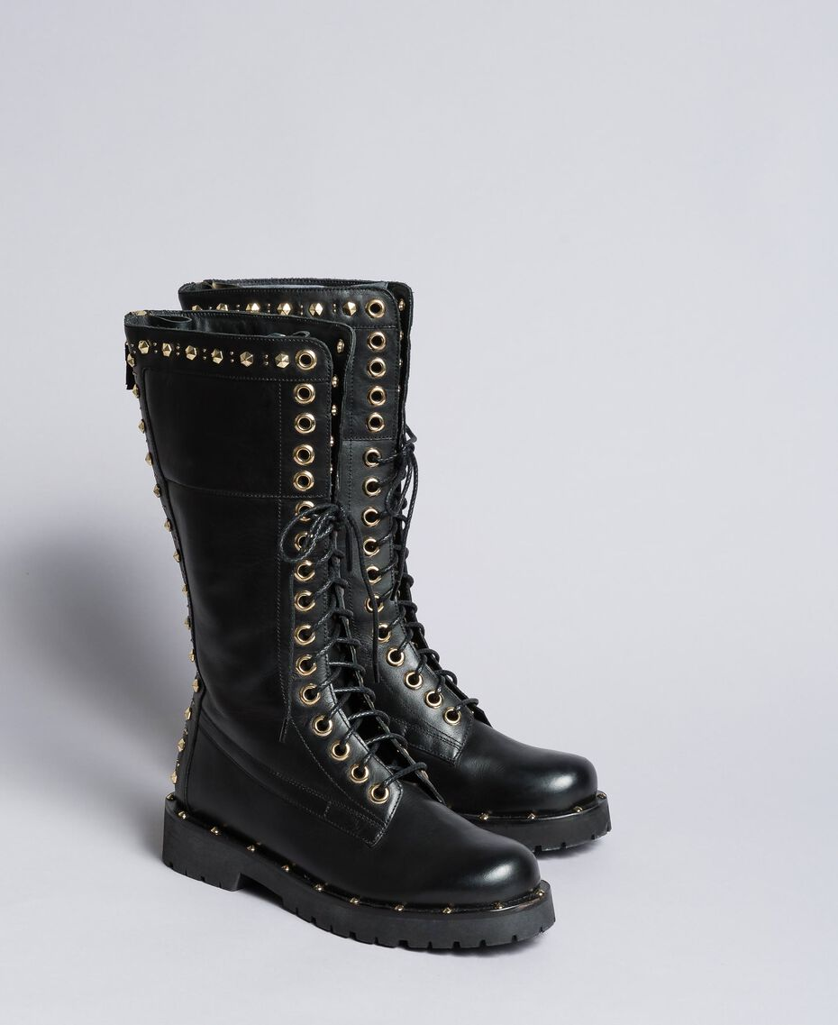 Leather combat boots with rivets and studs Black Woman CA8PLY-02