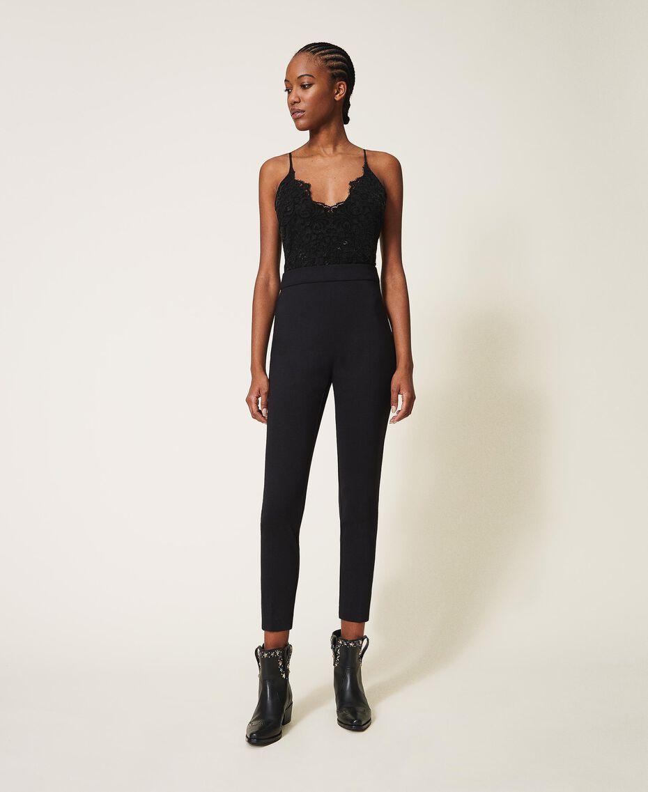 Crêpe de Chine and lace jumpsuit Black Woman 202TT2282-01