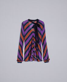 Blusa in georgette a righe Stampa Riga Multicolor Donna TA8292-0S