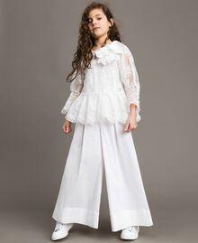Popeline-Jumpsuit und Organza-Bluse Weiß Kind 191GJ2QB0-02