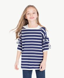 "Striped maxi pullover Ocean Blue / ""Papyrus"" White Stripes / Flower Print Child GS83BA-02"