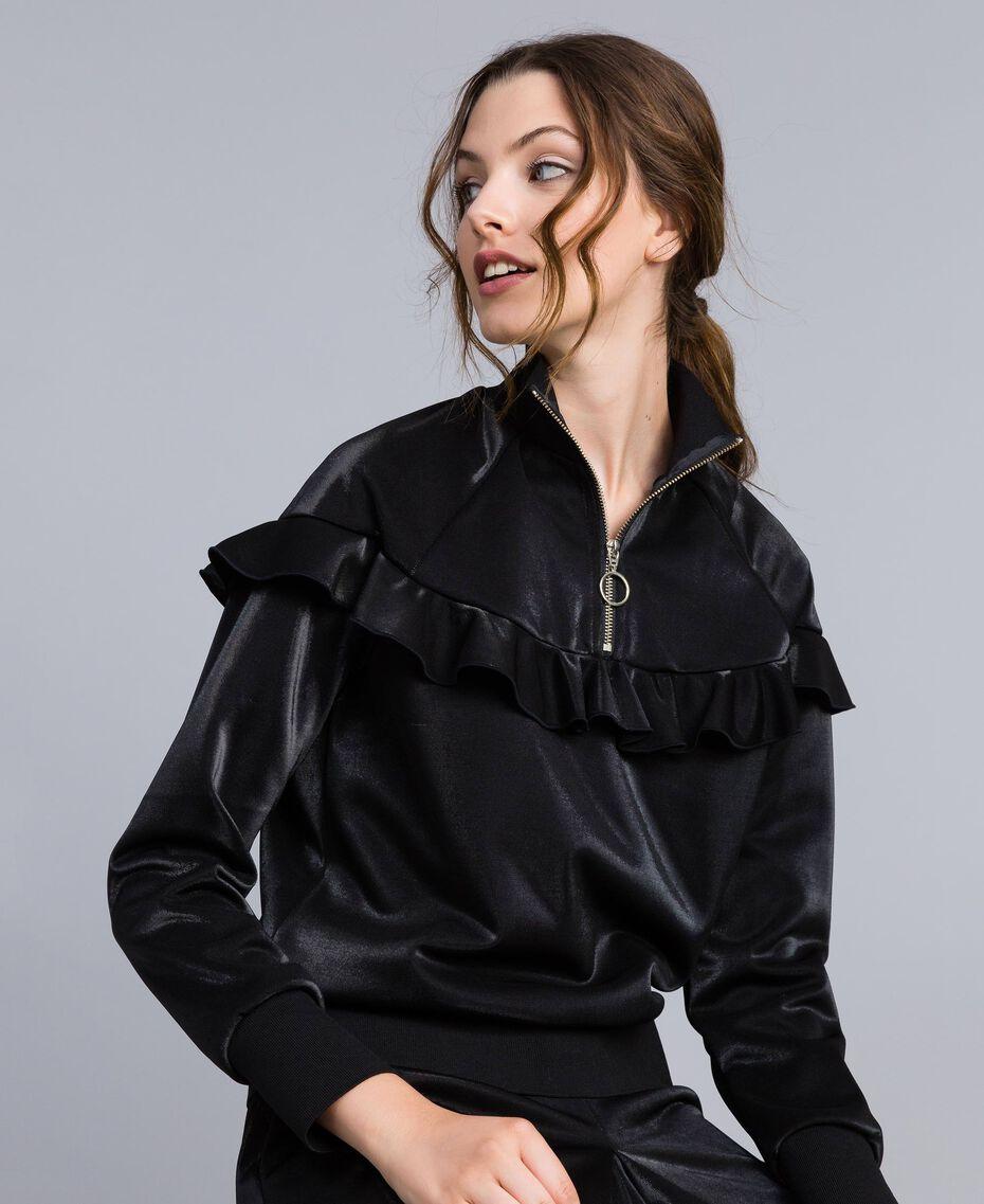 Sweatshirt aus technischem Stoff mit Rüschen Schwarz Frau IA85BB-02