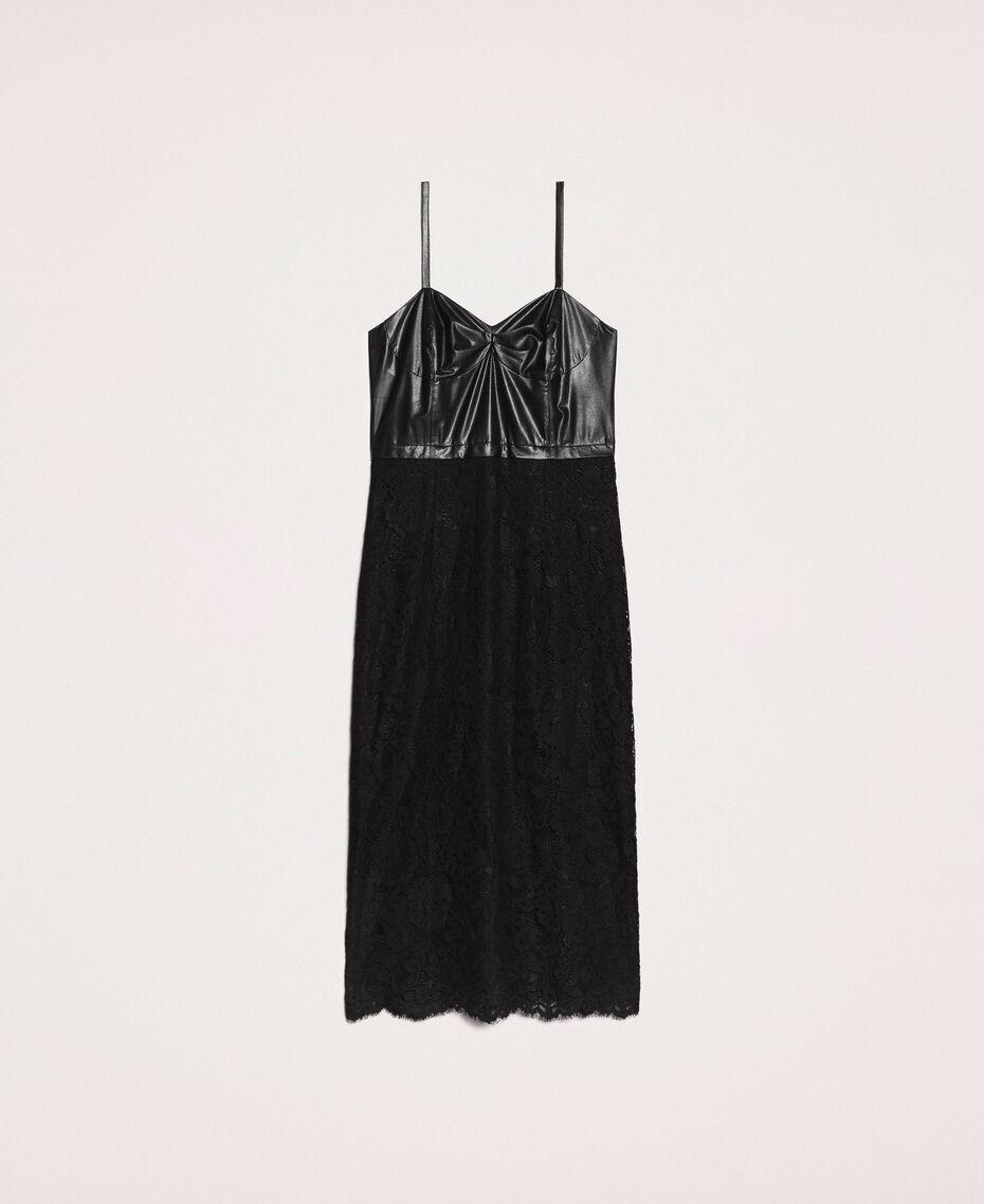 Macramé lace sheath dress Black Woman 201MP2233-0S