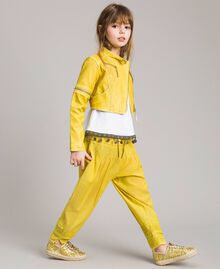 "Faux leather jacket with zip ""Bamboo"" Yellow Child 191GJ2103-02"
