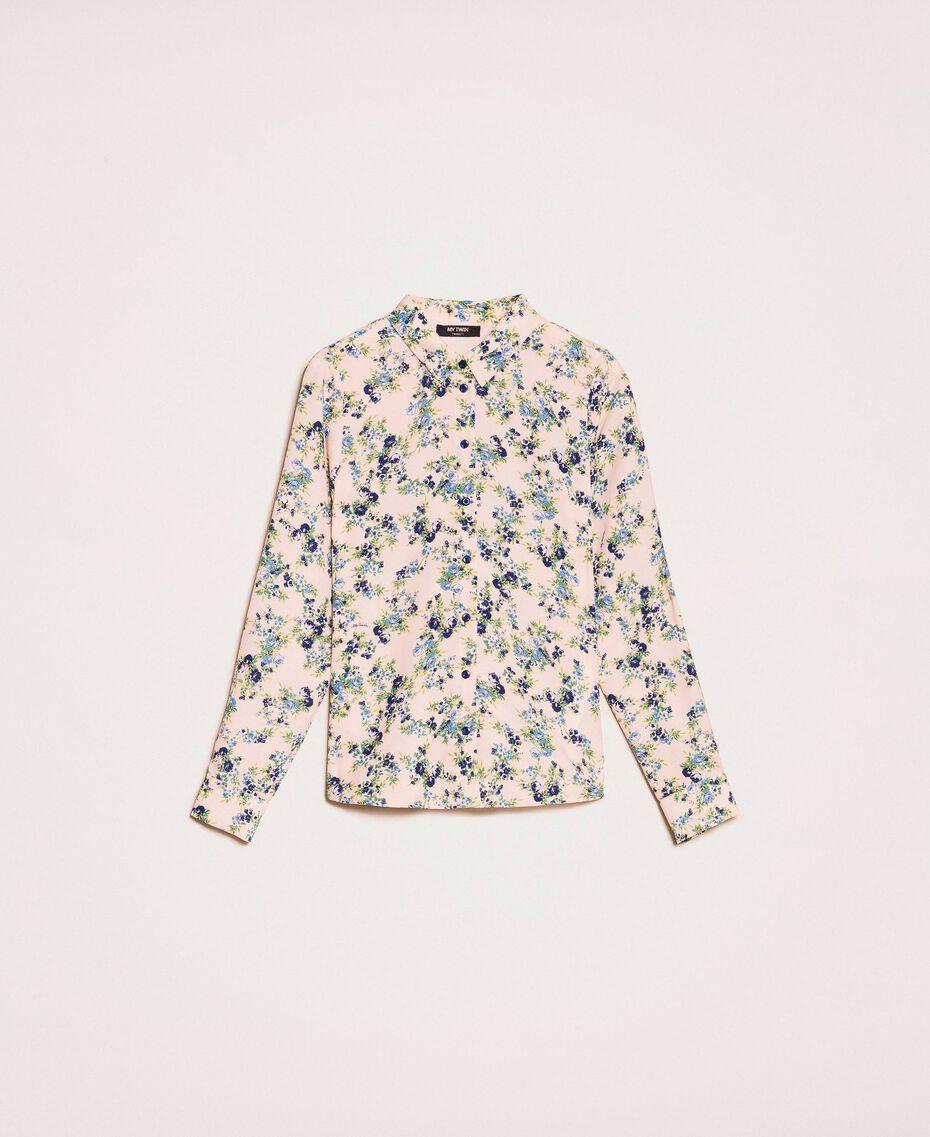"Floral crêpe de Chine shirt ""Quartz"" Pink Flowered Print Woman 201MP2375-0S"