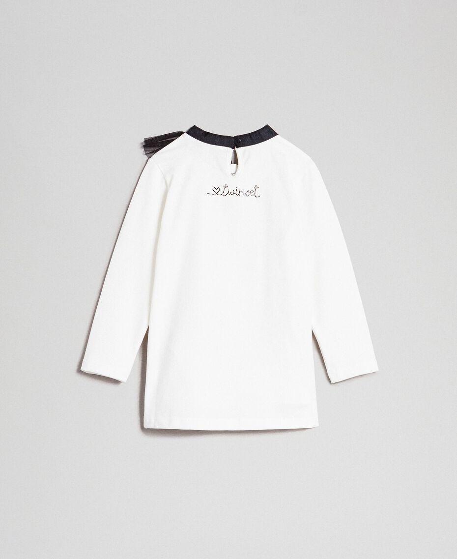 Maxi t-shirt avec imprimé et col en tulle Blanc / Noir Enfant 192GB244A-0S