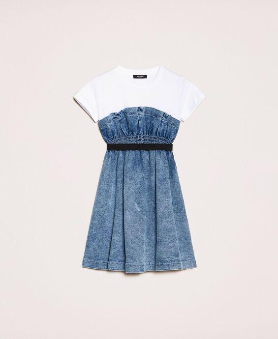 Джинсовое платье со сборками