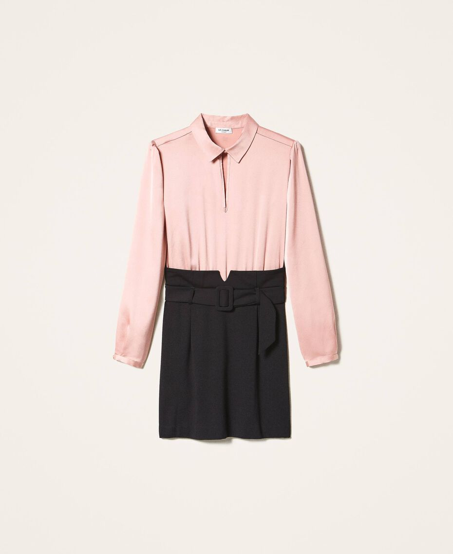 """Robe bicolore avec jupe fourreau Bicolore Noir / Rose """"Vintage"""" Femme 202ST2027-0S"""