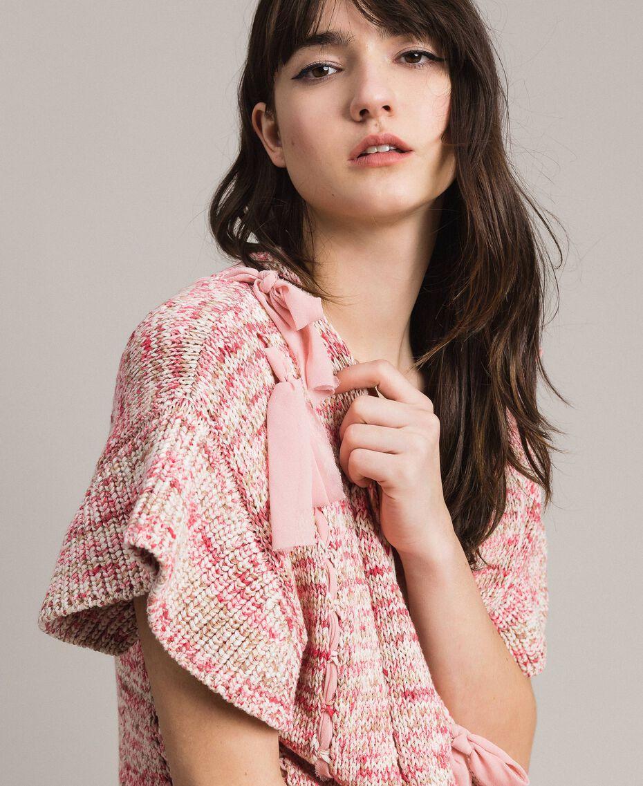 Lange Weste mit Bändern Multicolour Pinkes Muster Frau 191TP3282-06
