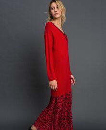 Robe en maille avec insertion animalière Bicolore Noir / Lys Femme 192MP3052-02