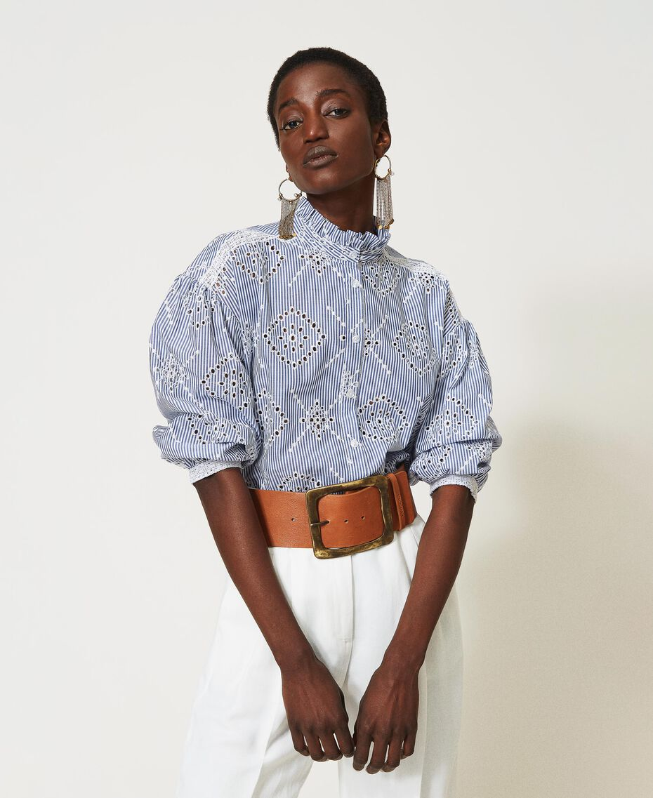 "Poplin shirt with broderie anglaise ""Snow"" White / ""Indigo"" Blue Stripe Broderie Anglaise Woman 211TT2412-01"