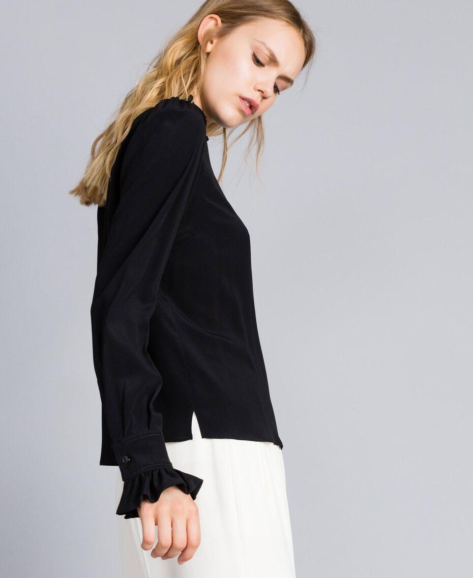 Bluse aus Seidenmischung mit Rüschen Schwarz Frau TA823D-02