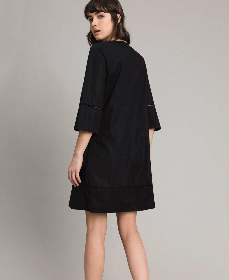 Robe en popeline avec broderie Noir Femme 191TT2242-03