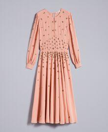 Robe longue en crêpe georgette avec broderie Rose Pâle Femme TA826A-0S