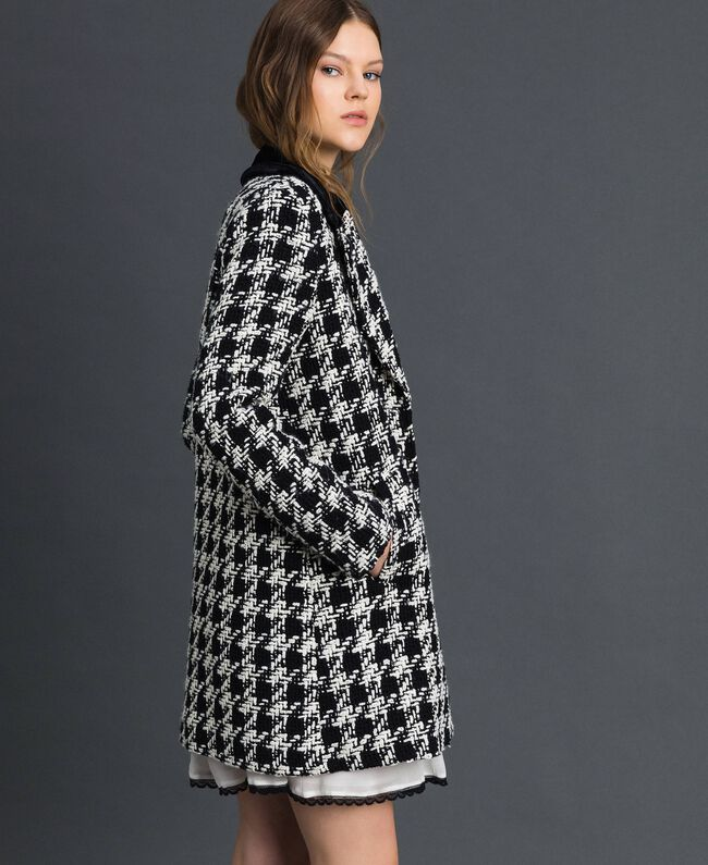 Houndstooth bouclé coat White / Black Houndstooth Woman 192TP2630-01