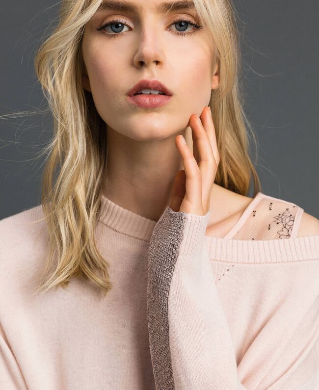 Pull boxy avec top nuisette Rose Bouton Femme 192MP3101-04