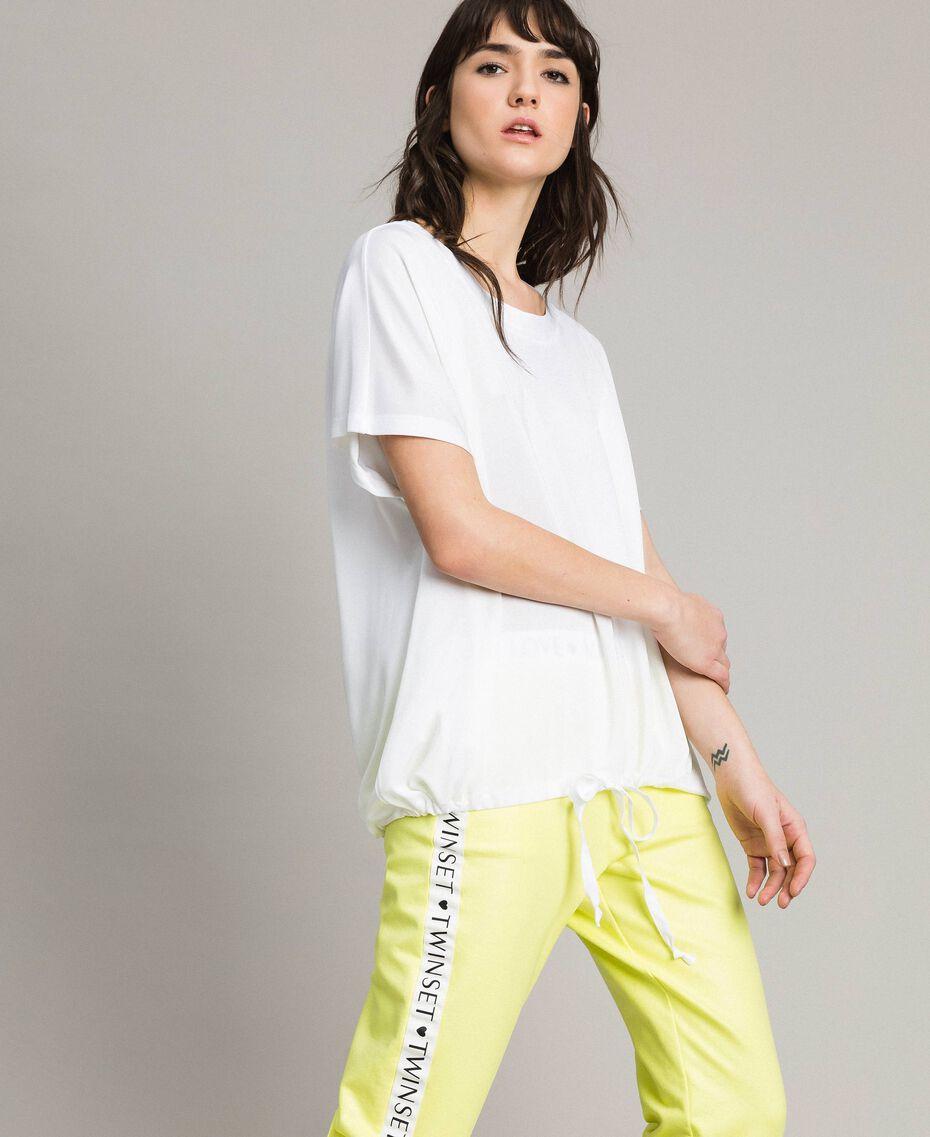 T-Shirt mit Tunnelzug Weiß Frau 191LL23GG-02
