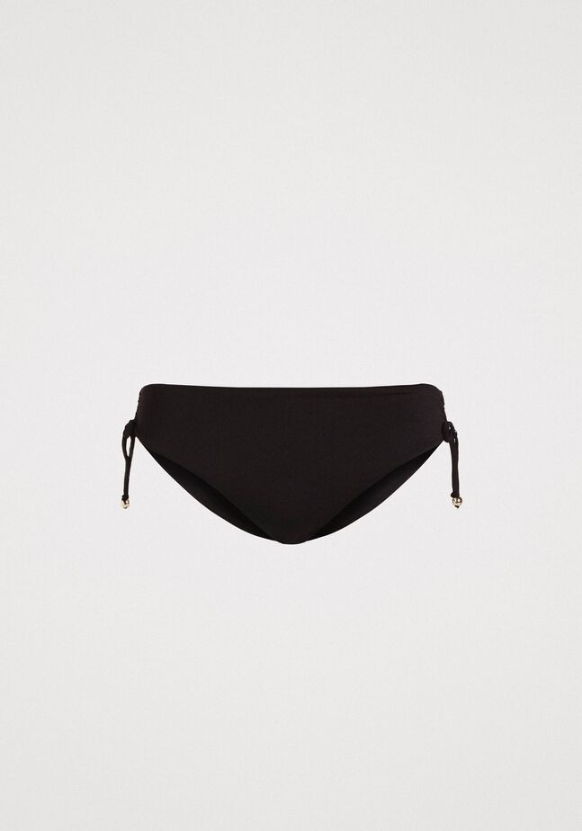 Solid colour bikini bottom with drawstring