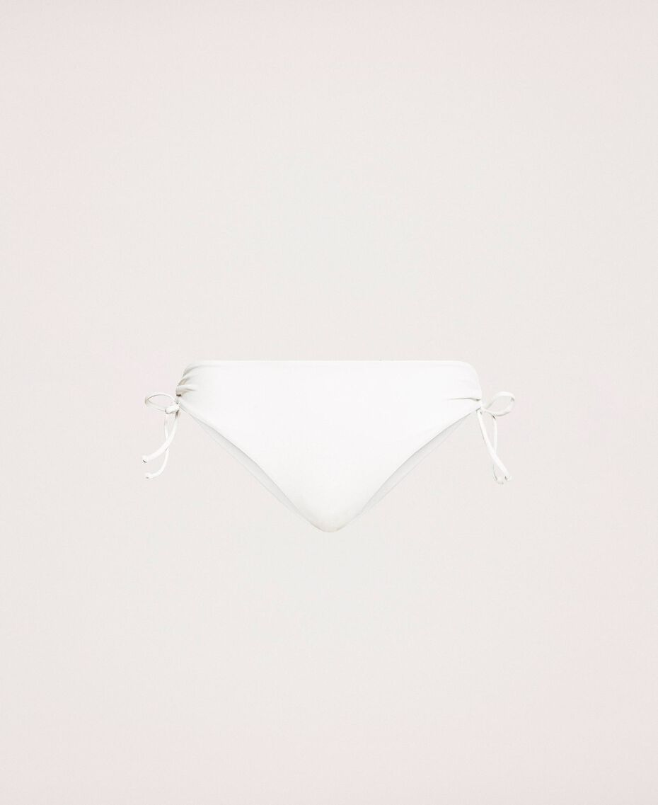 Bikini bottom with drawstring and laces Ivory Woman 201LBM199-0S