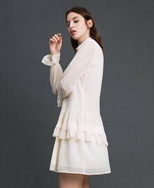 Kleid aus Georgette mit Reißverschluss Weiß Vanille Frau 192MT2060-03
