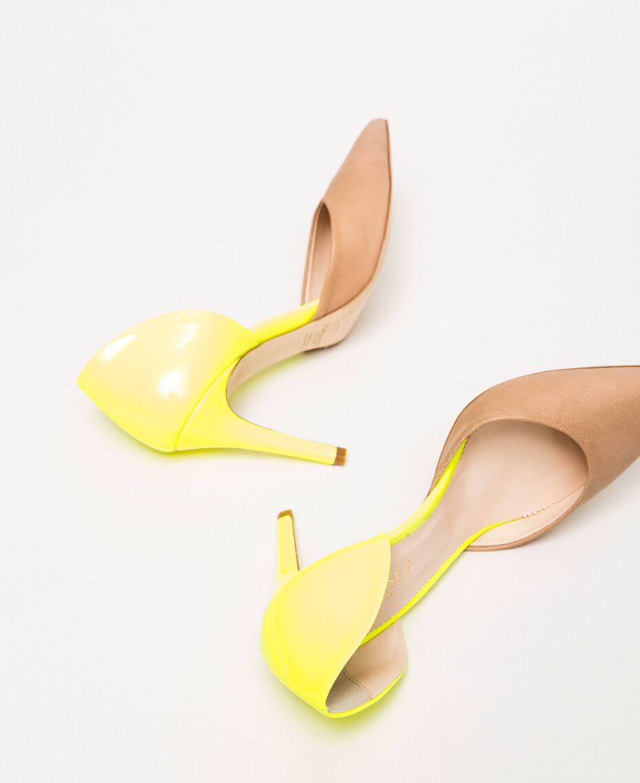 """Patent leather and leather court shoes Two-tone """"Desert"""" Beige / Fluo Yellow Woman 201TCP012-03"""