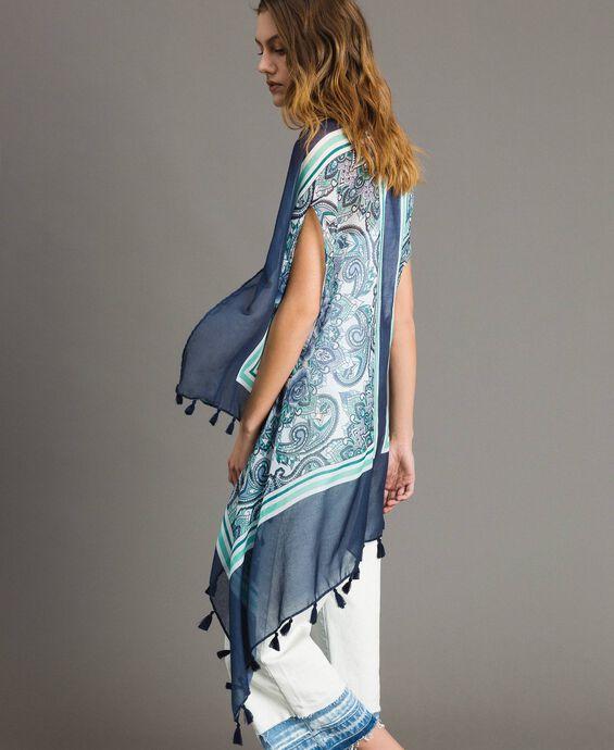 Top stampa foulard e nappine