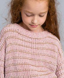 Pull en chenille avec lurex Jacquard Roses / Lurex Or Enfant GA83K1-04