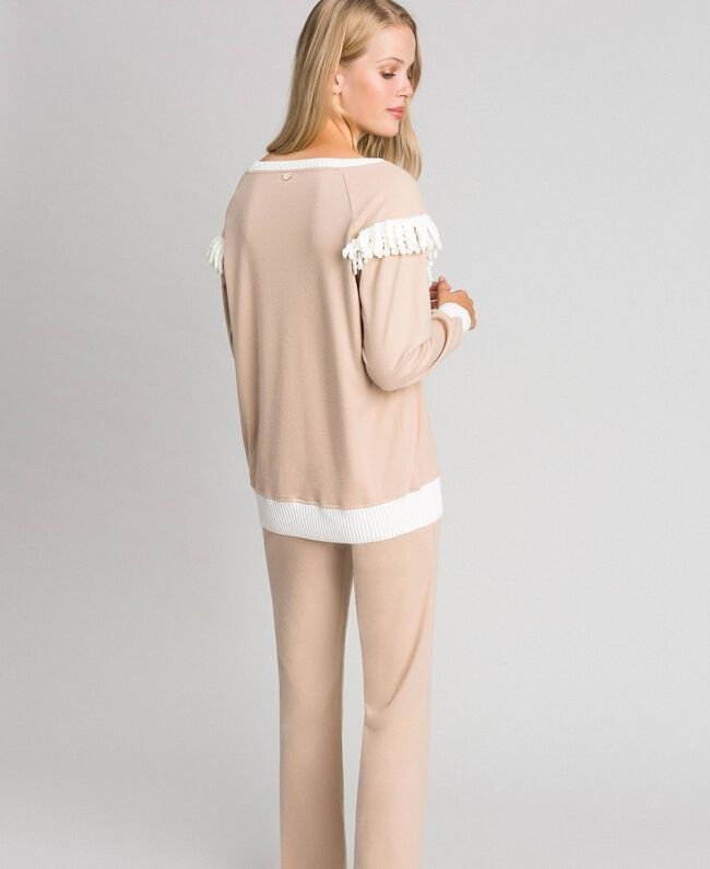 Long pyjamas with fringes Warm Beige Woman 192LL2EGG-03