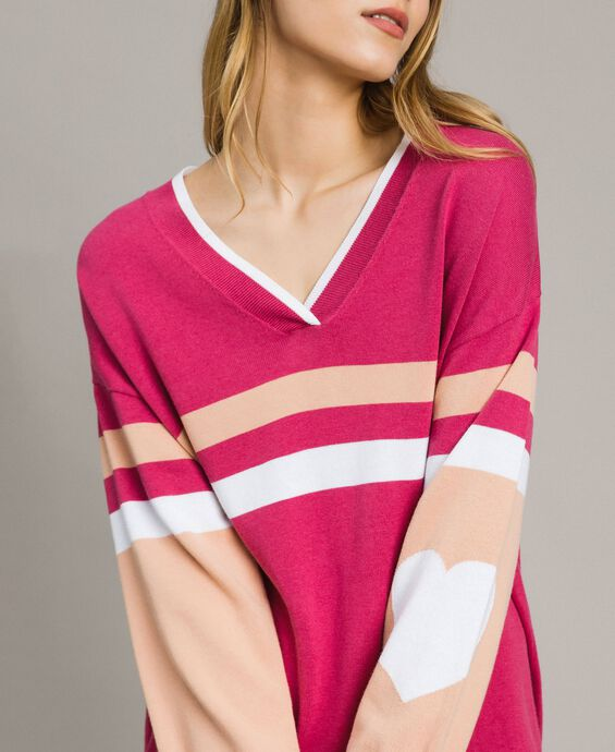 Colour block maxi jumper with heart
